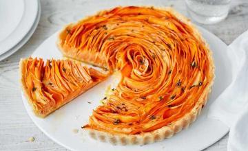 Sweet Potato, Thyme & Parmesan Flower Tart