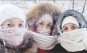 Eye-lashes freeze in Russia's extreme winter spell