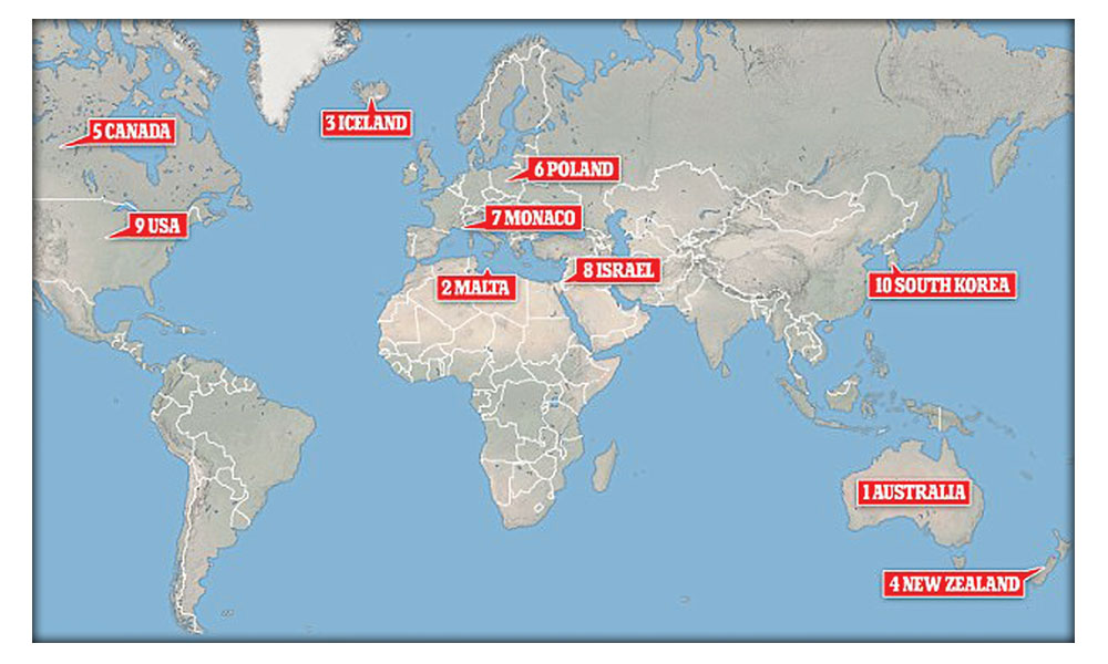 From australia with concern focus mag the weekly map showing the top 10 safest countries for women gumiabroncs Images