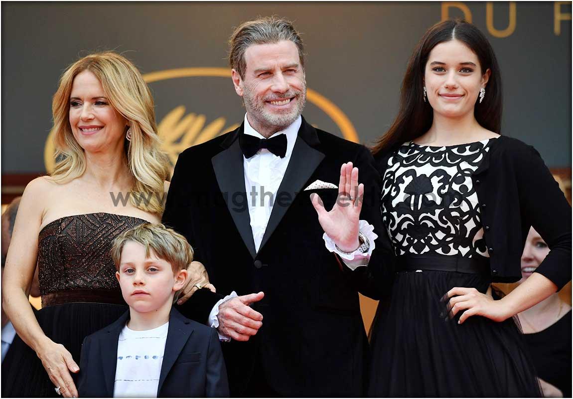 John Travolta with his wife Kelly Preston and their children Ella Bleu Travolta and Benjamin Travolta.