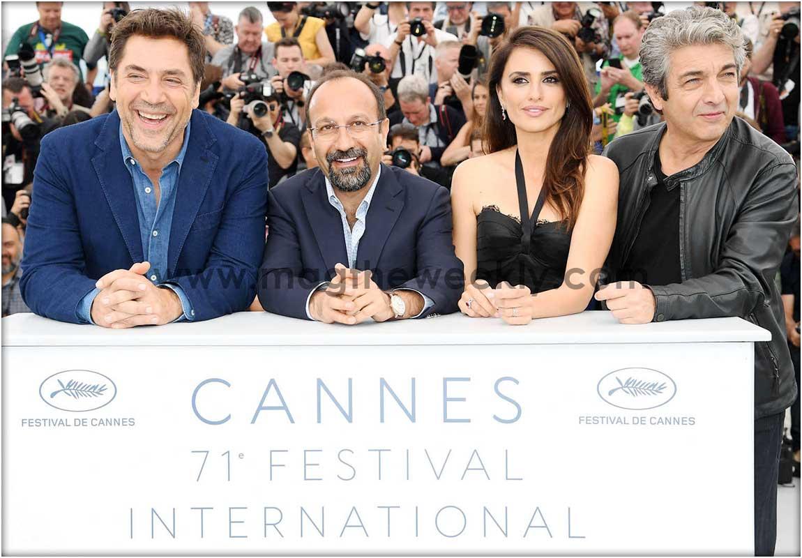 Javier Bardem, director Asghar Farhadi, actress Penelope Cruz (wearing jewels by Atelier Swarovski Fine Jewellery) and Ricardo Darin.