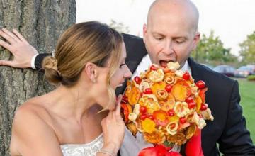 A wedding bouquet made from pizza