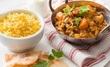 Coconut Dal with Saffron Rice