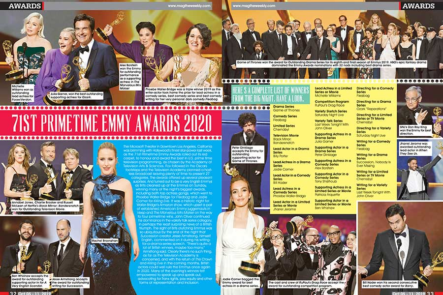 List Of Emmy Winners 2020.71st Primetime Emmy Awards 2020 Awards Mag The Weekly