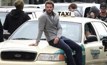 Liam Hemsworth gets hit by taxi on Dodge & Miles set