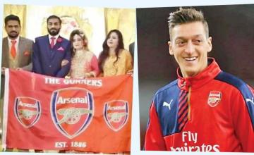 Mesut Ozil congratulates Pak couple who held Arsenal flags on wedding stage
