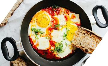 Eggs in Garlic Tomato Sauce with Brie