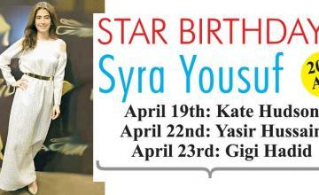 STAR BIRTHDAYS SYRA YOUSUF