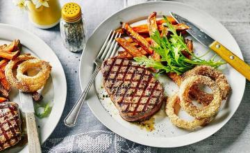 Steak, Sweet Potato Fries and Baked Onion Rings