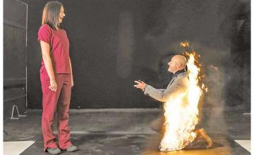 Stuntman engulfs himself in flames to pop the question to girlfriend